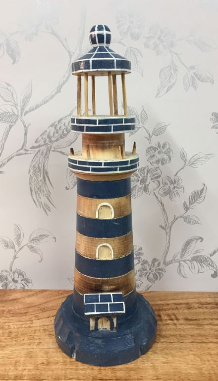 Wooden Blue Lighthouse Hand Carved Nautical Ornament (L)